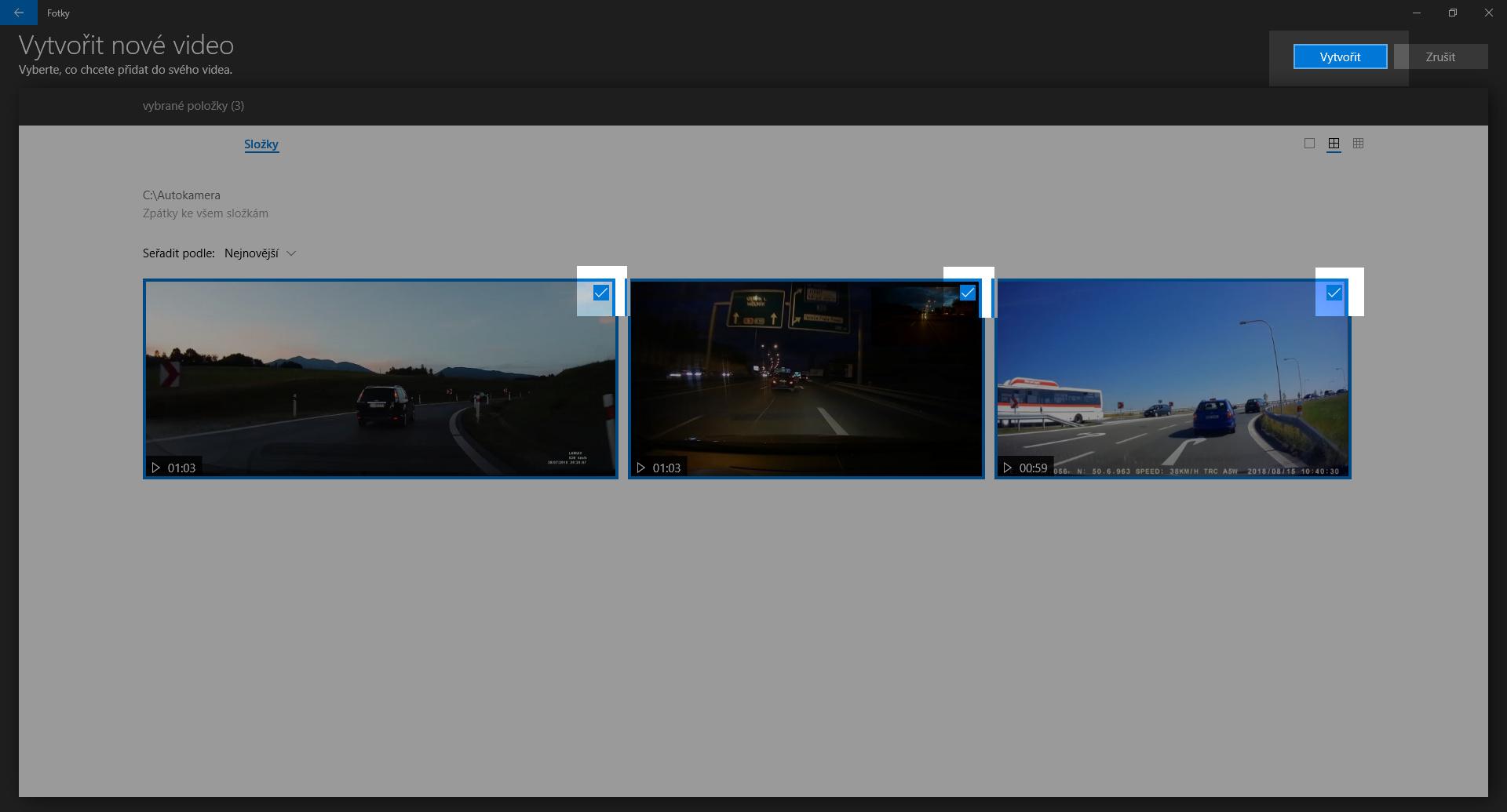 Spojení několika záznamů z autokamery do jednoho video souboru - obrázek 2